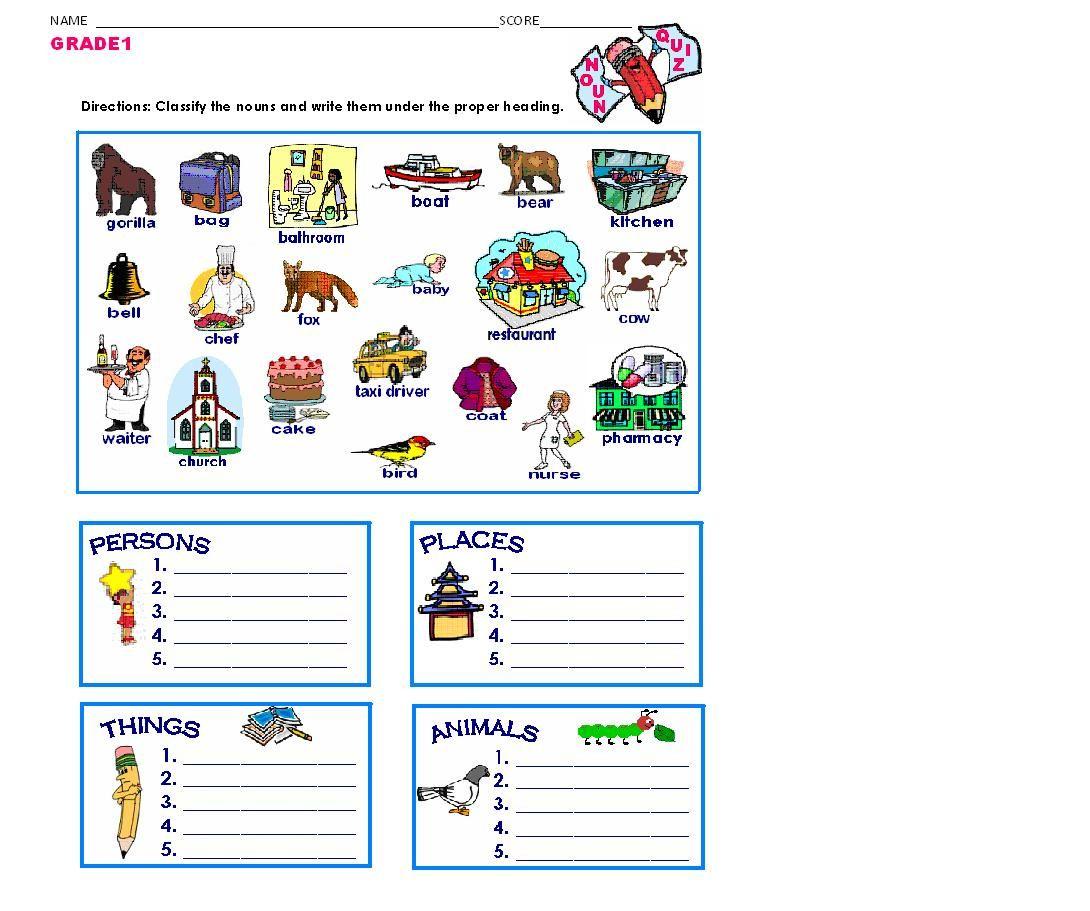 GRAMMAR WORKSHEETS: NOUN QUIZ- CLASSIFICATION   Kindergarten worksheets  printable [ 911 x 1090 Pixel ]
