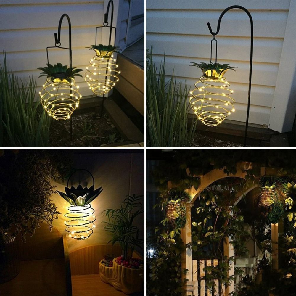 Waterproof Hanging Solar Lanterns Pineapple Solar Garden Lamp Outdoor Fairy Lights Path Lights Ho Backyard Lighting Solar Hanging Lanterns Outdoor Fairy Lights