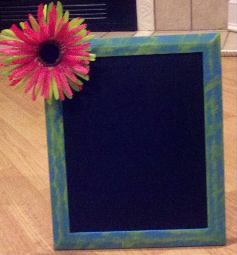 Chalkboard frame. Painted picture frame, hot glued flower on it ...
