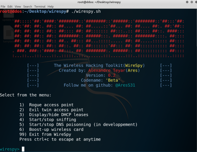 wirespy v0 6 releases: Automate Man In The Middle Attacks