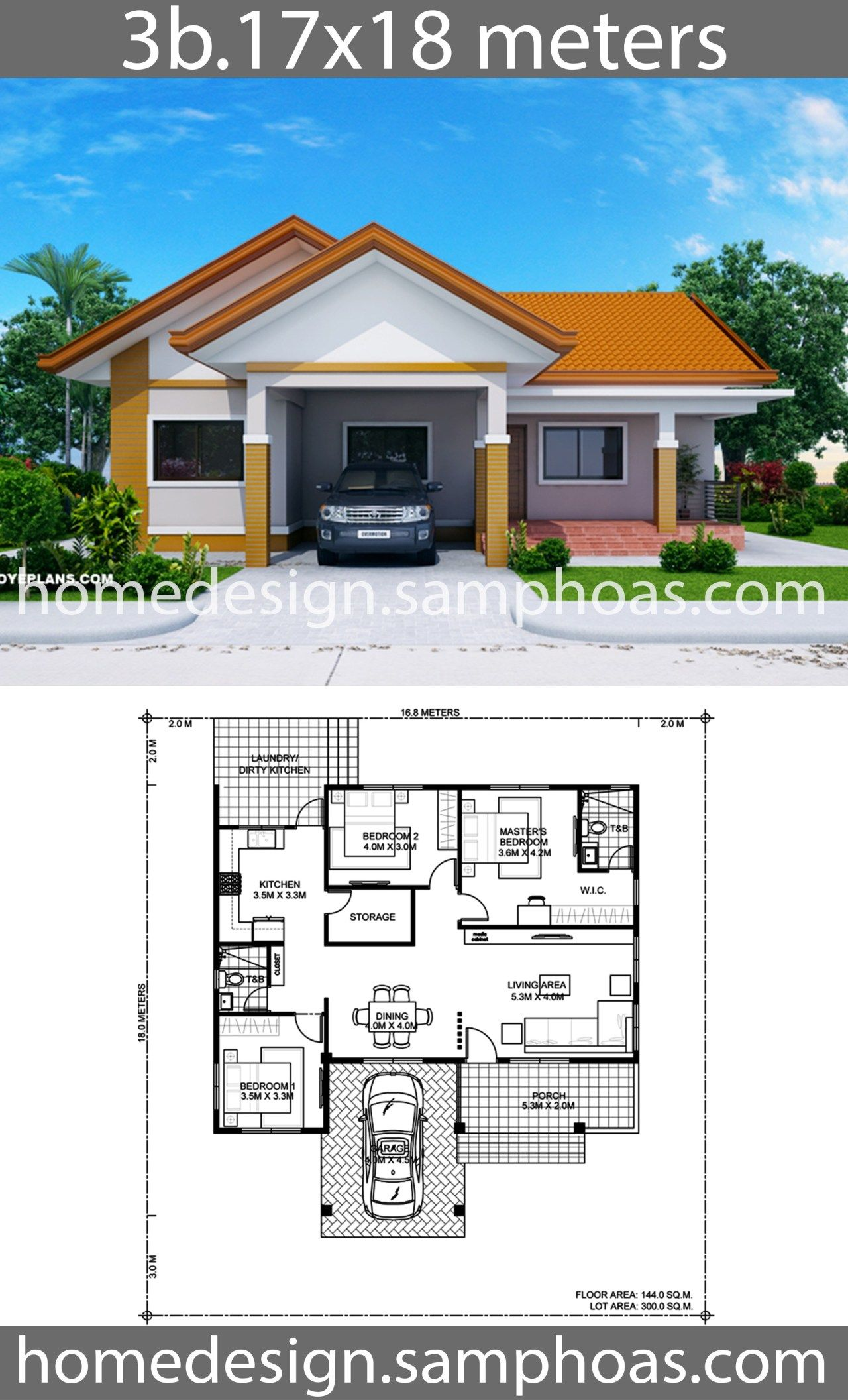 House Design Plans 17x18m With 3 Bedrooms Home Ideas Bungalow House Floor Plans Affordable House Plans House Construction Plan