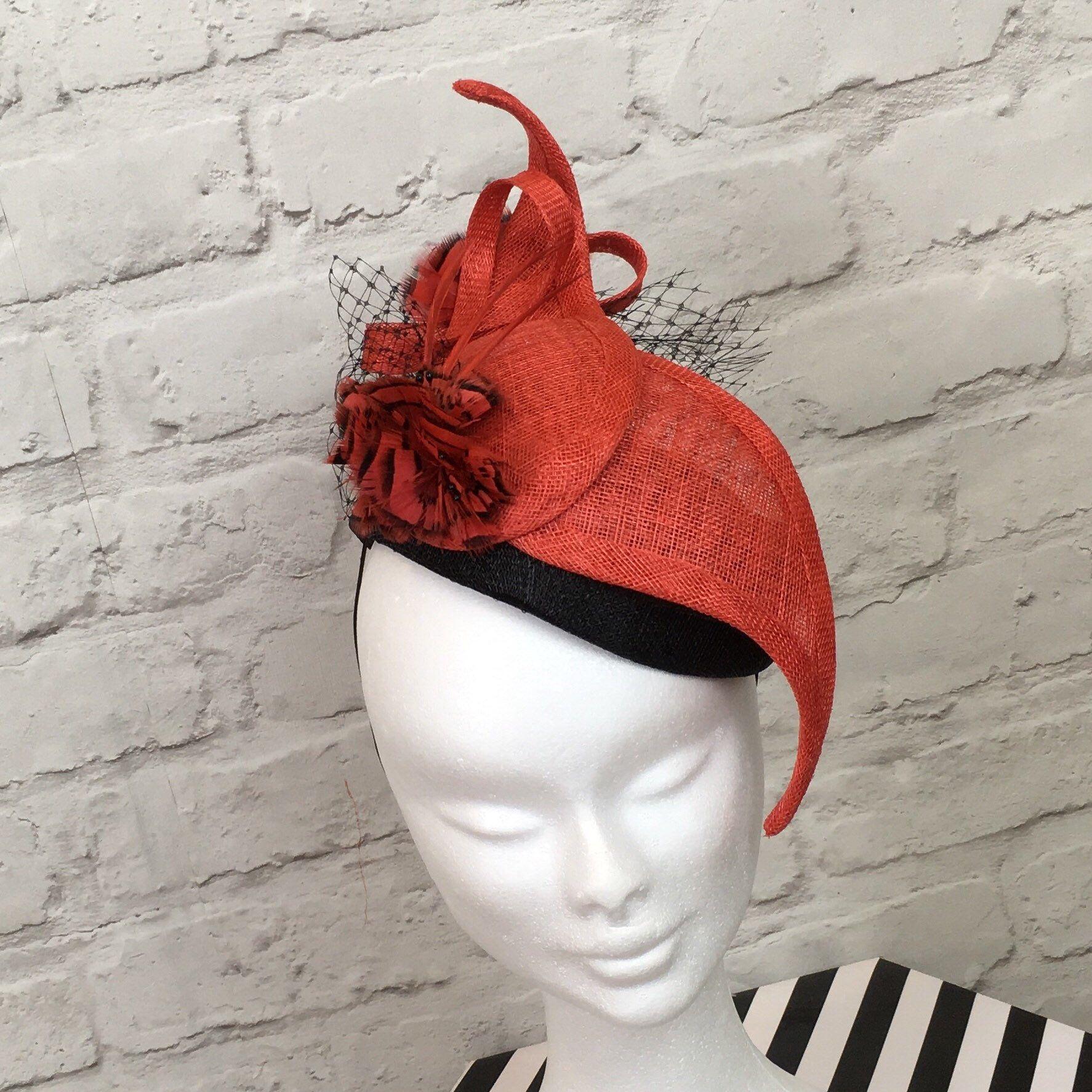 116bbc2eb10e4 Terracotta, dark coral & black fascinator, mini hat, winter hat in ...
