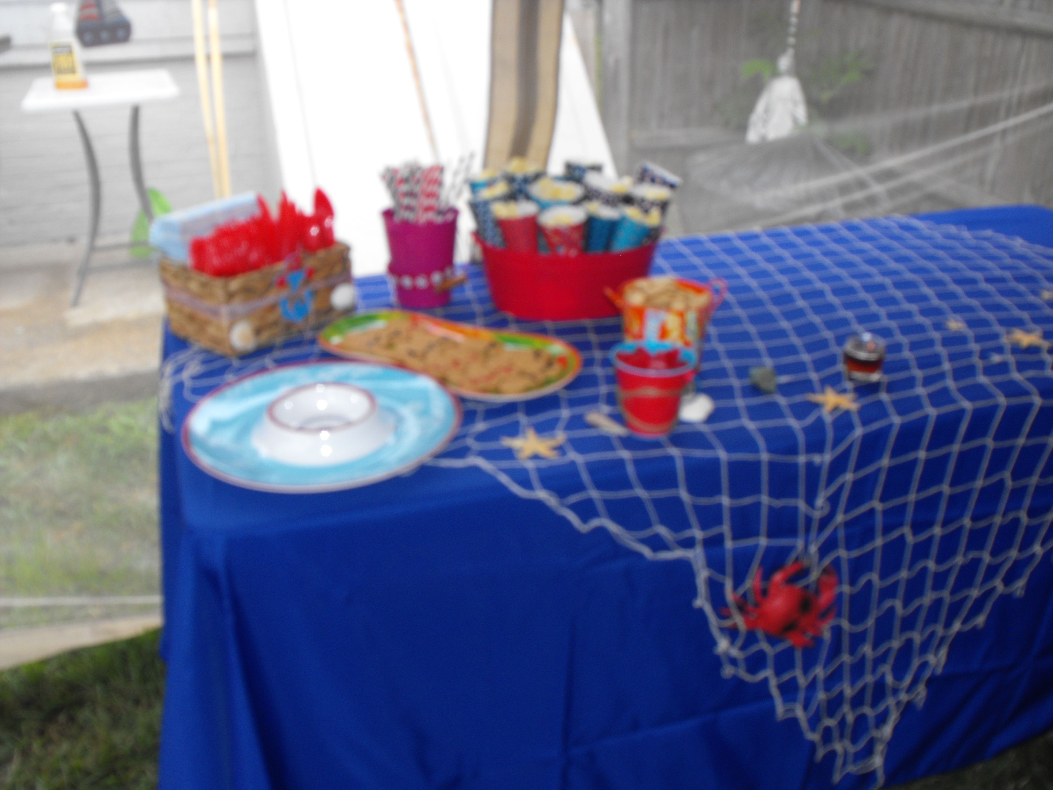 Nautical Table. Blue Tablecloth With Fishnet Draped Over It