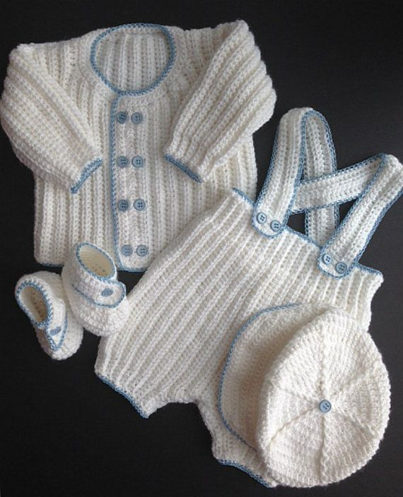 Baby Boy Crocheted Christening Outfit Crochet Baby Clothes Boy Crochet Baby Clothes Crochet For Boys