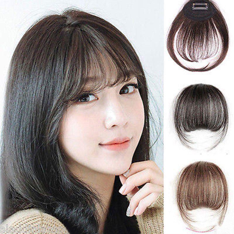 181 Thin Neat Air Bangs Real Hair Extension Clip In Korean