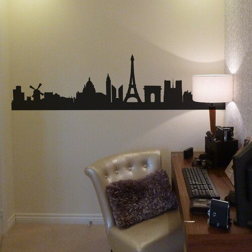 Photo of East Urban Home Wandsticker Paris Skyline | Wayfair.de