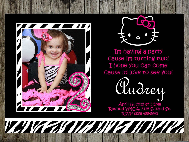 Hello Kitty zebra Birthday Party Photo Invitations thank you card