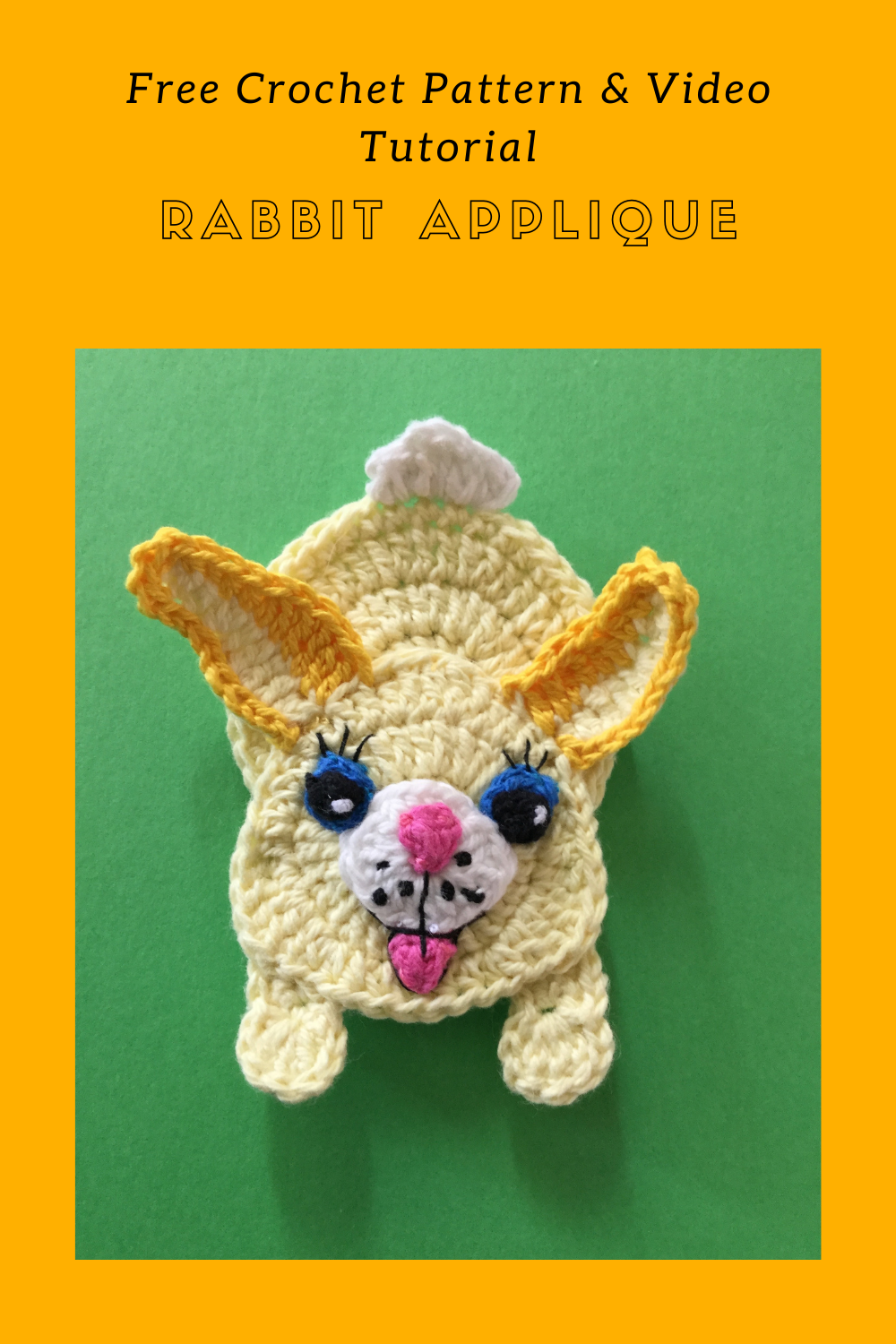 Find the free crochet pattern and video tutorial for this rabbit applique at Kerri's Crochet.