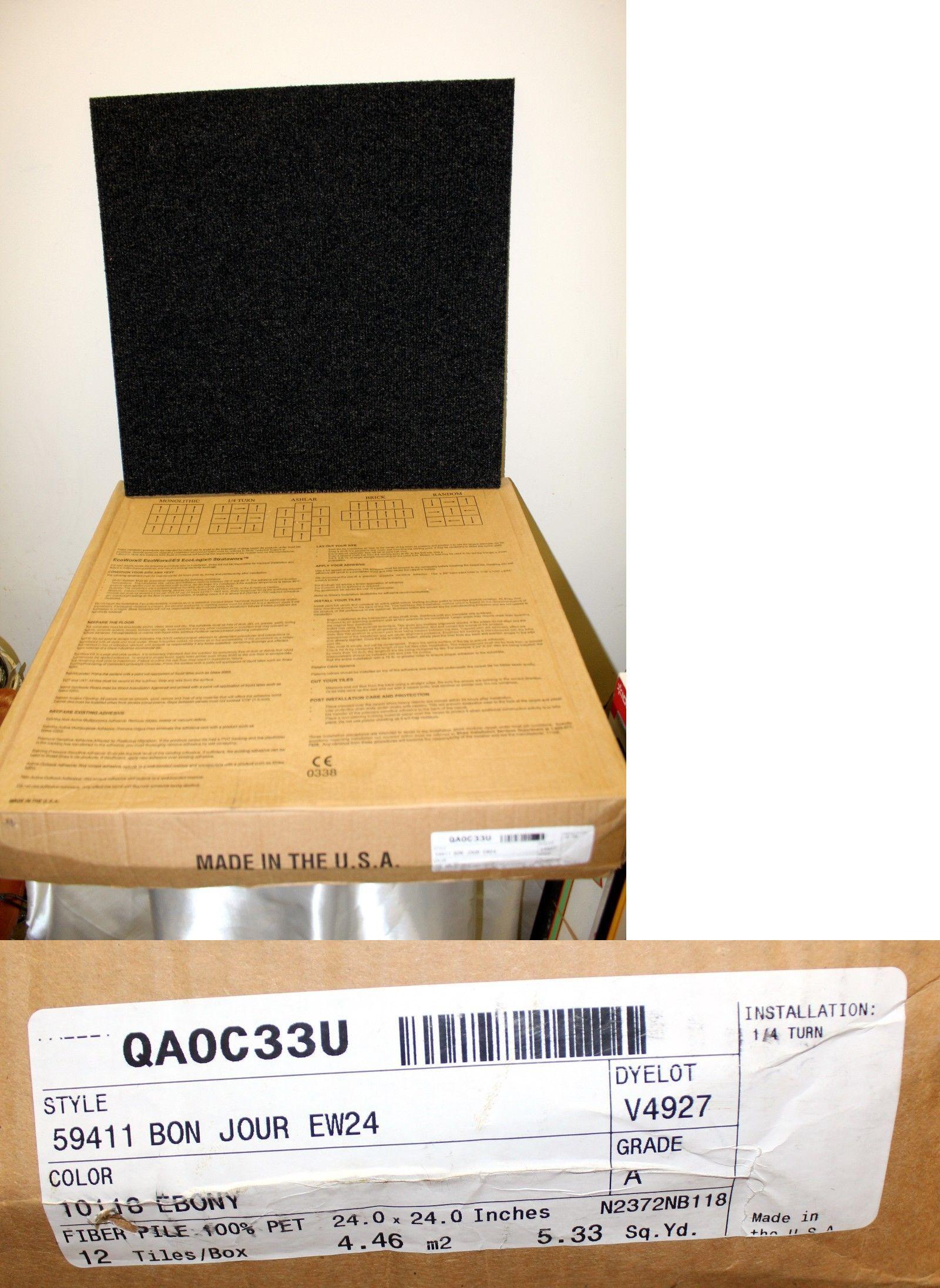 Carpet Tiles 136820: Shaw Ecoworx 24 X 24 Ebony Carpet Tiles 12 New In Box