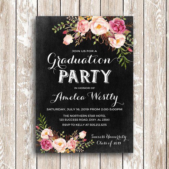 floral graduation invitation printable chalkboard graduation party