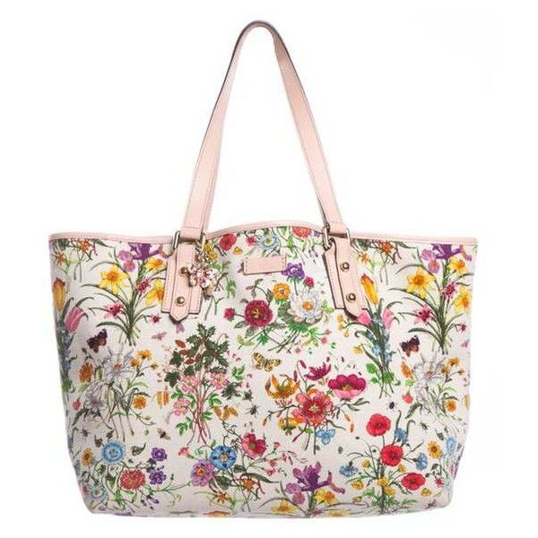 Gucci Large Floral Print Canvas Tote (€635) ❤ liked on Polyvore featuring bags, handbags, tote bags, white canvas tote bag, white handbags, white canvas tote, canvas handbags and gucci tote