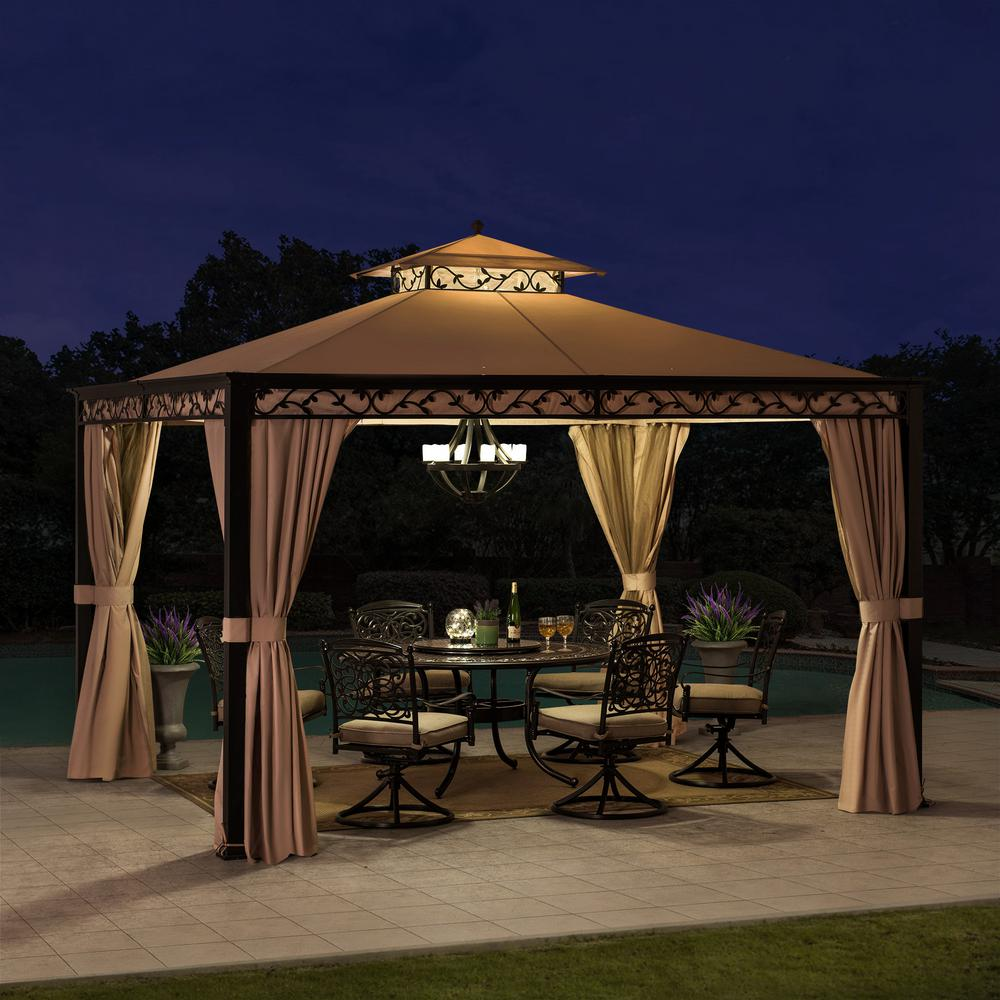 Sunjoy Bradley 10 Ft X 12 Ft Steel Gazebo With Mosquito Netting And Curtain A101003202 The Home Depot In 2020 Steel Gazebo Gazebo Backyard Decor