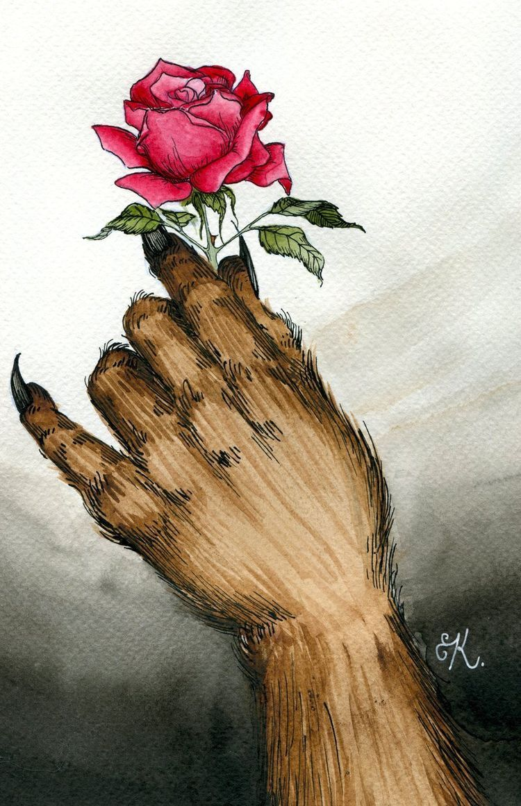 The Hand Of Beast Holding The Beautiful Flower The Beautiful Rose That He Is Going To Give To Belle P Avec Images Art Disney La Bete Dessins Disney