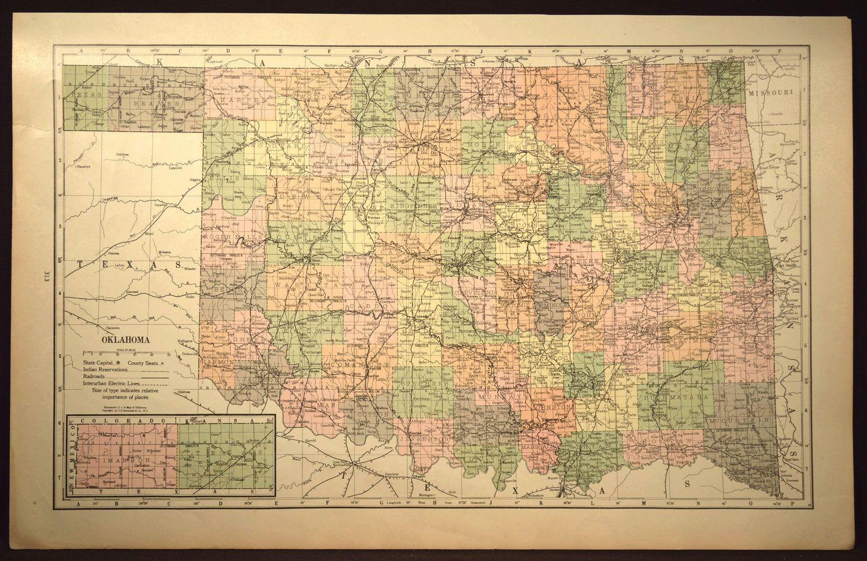 Oklahoma Map of Oklahoma LARGE Oklahoma Railroad Map Wall ... on