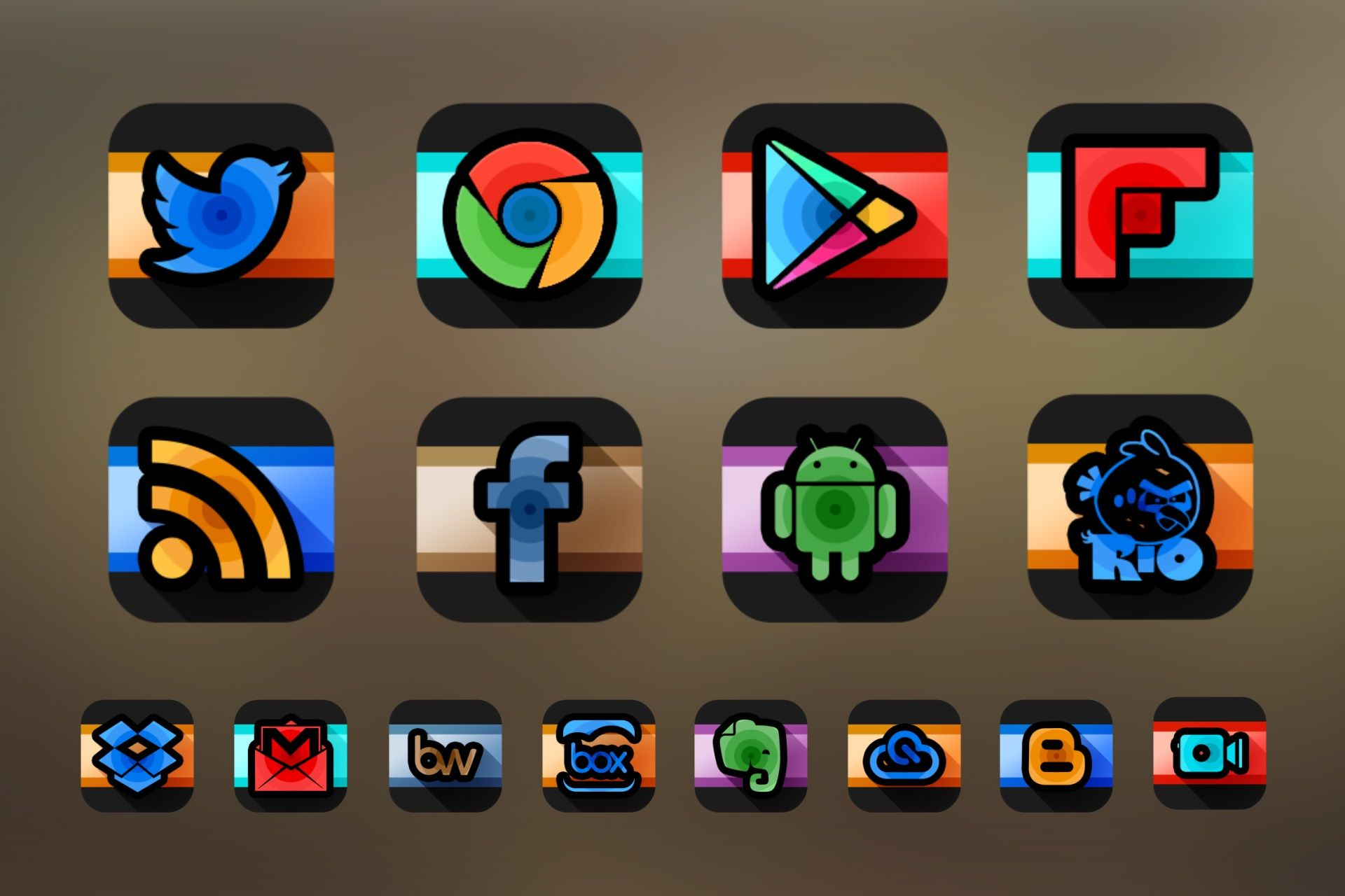 Swirl Black Icon Pack Theme