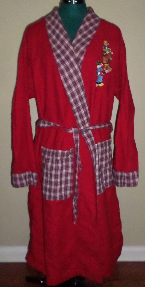 Great nostalgic robe! Warner Bros Studio Sylvester Tweety Looney Tunes Robe Red Plaid 1995 M L XL #WarnerBros #Robes #LooneyTunes #Sylvester #Tweety