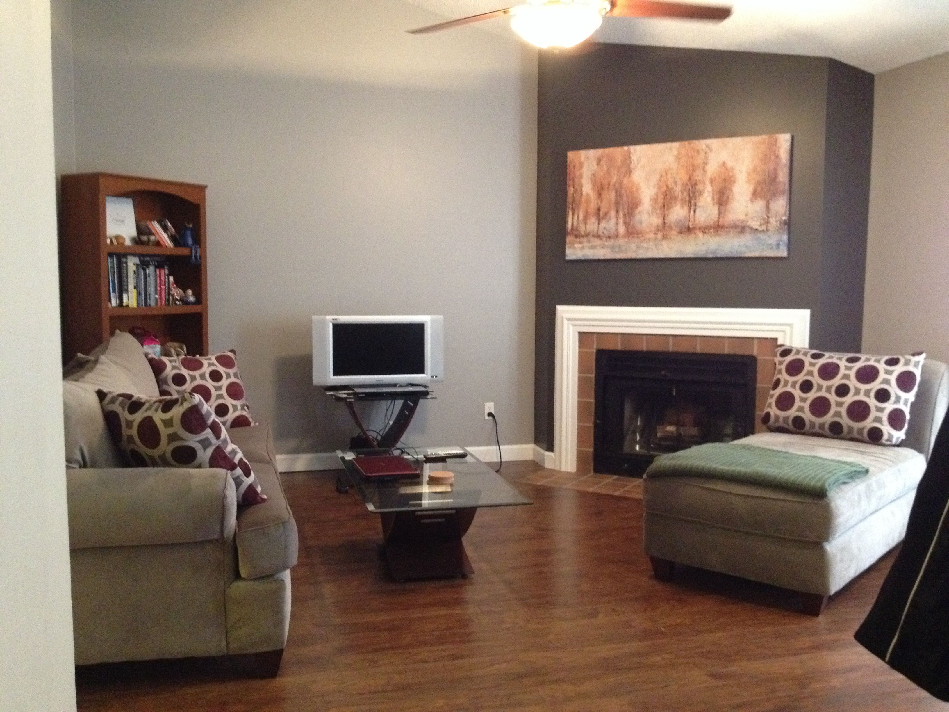 This is my finished living room paint job i love the cozy - Grey paint living room ...