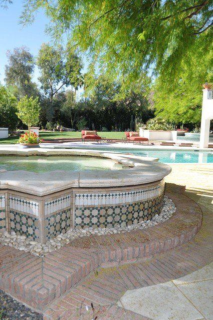 Mediterranean Moroccan Spanish - tile bench capstone raised ... on patio raised garden beds, paver stone raised garden beds, front entrance raised garden beds,