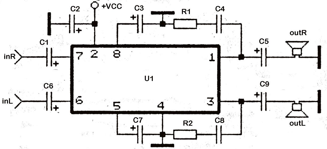 Mini Stereo Power Amplifier using TDA2822