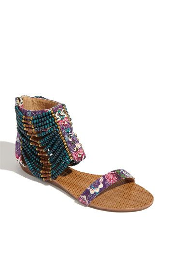 51450f3ef063a Floral sandal with many rows of brightly colored beads