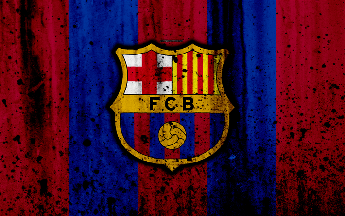 Download Wallpapers FC Barcelona, 4k, Grunge, FCB, La Liga