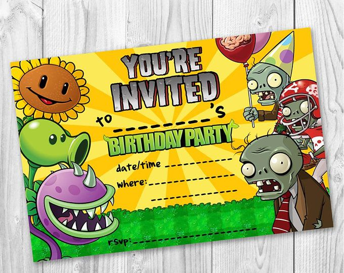 Girls Boys Invitations Pvz Plants Vs Zombies Gaming Xbox Party Kids Birthday Invites Free Envelopes Birthday Invitations Kids Xbox Party Birthday Invitations
