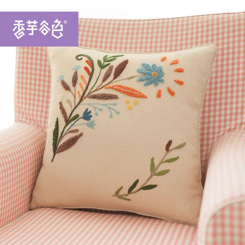 Marca china Flores Bordado Hecho A Mano Fundas de Almohada
