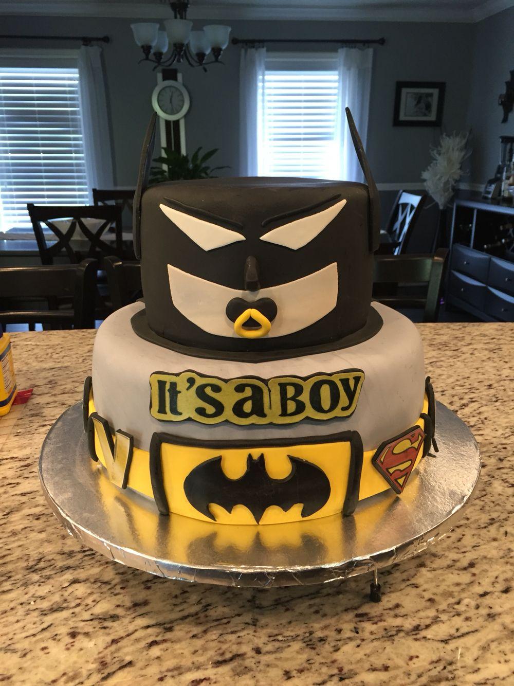 Batman Baby Shower Cake Little Miscakes Creations Pinterest