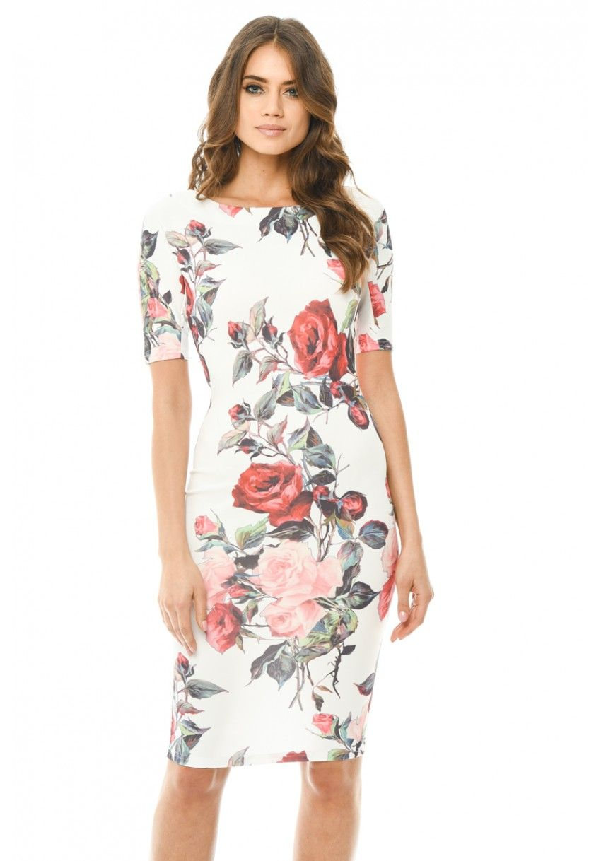 ad1be4973c7bd Women s Floral Midi Bodycon Short Sleeve Dress - AX Paris USA-Fashion  Dresses