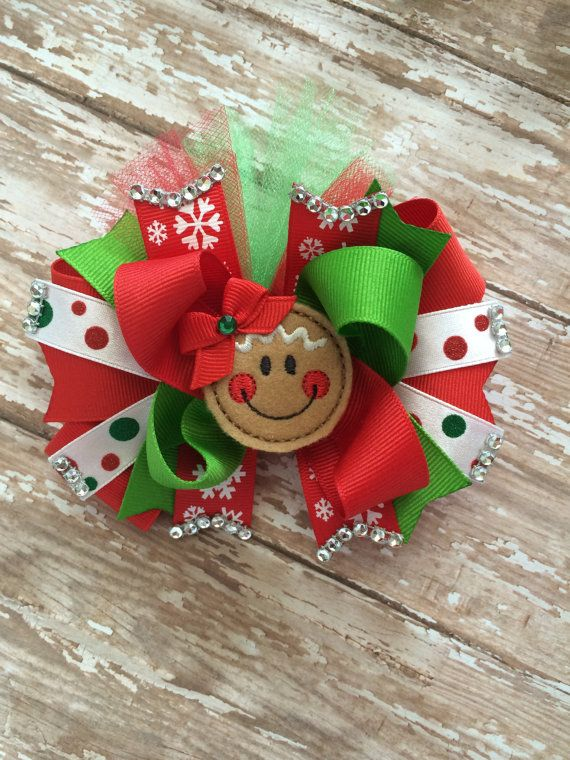 Large 4 Inch Red And Gold Glitter Children/'s Christmas Hair Bow