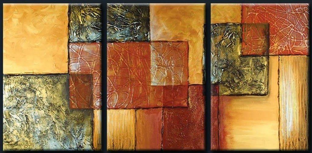 Cuadros tripticos pintados al oleo pintura decorativa - Cuadros con relieve modernos ...
