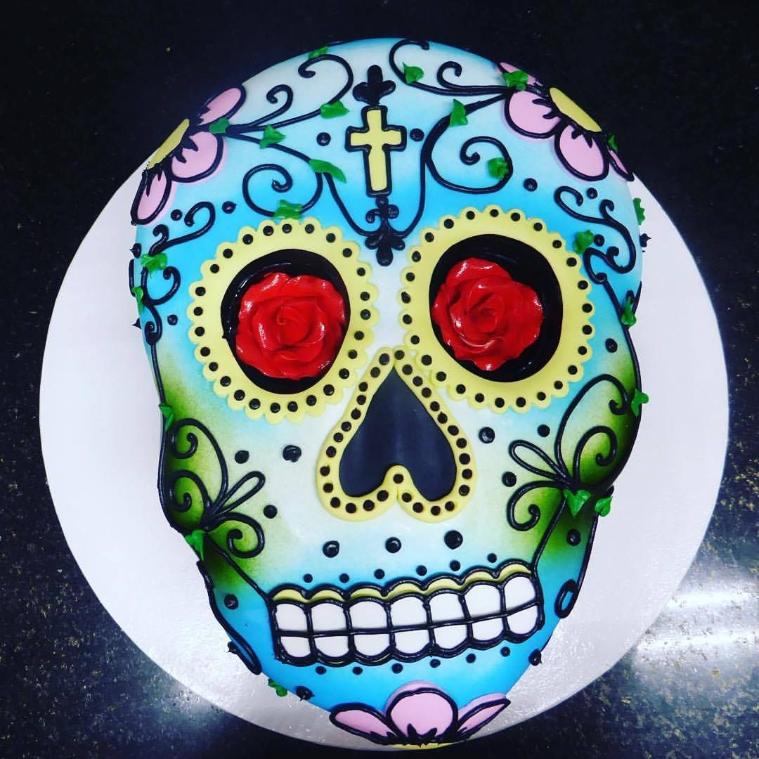 Day Of The Dead Birthday Cake With Sugar Rose Eyes Dayofthedead