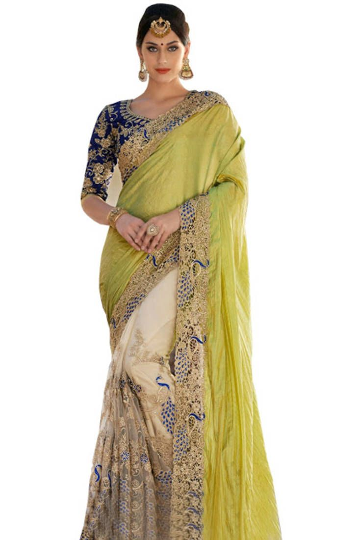 bf4d8ba4d Parrot green embroidered art silk saree with blouse
