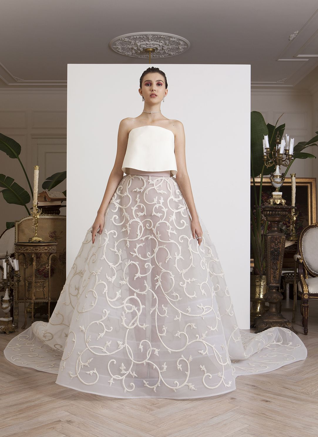 AZZI & OSTA: Strapless see-through off-white organza embroidered ...
