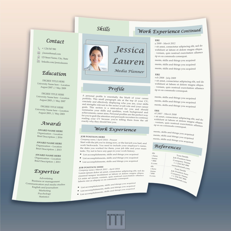 2 Page Beautiful Cv Template Design By Tiptoptemplate Modern Cv