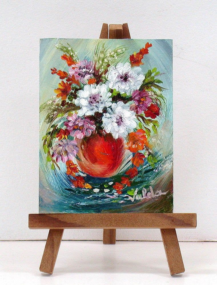 Mix Of Flowers In Red Vase Original Mini Floral Oil Painting