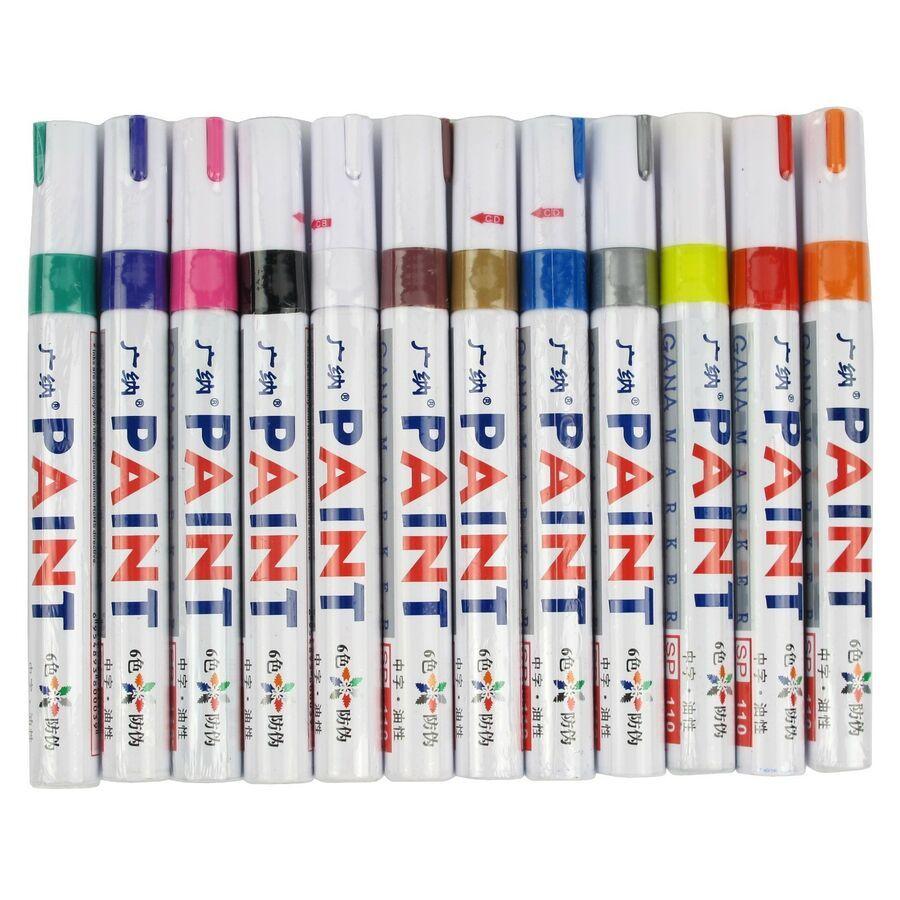 12 Colors Sets Fine Paint Oil Based Art Marker Pen Metal Glass Waterproof