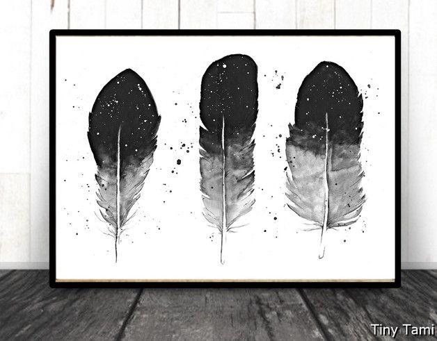 """**""""Drei Graie Federn""""**  Dieses Bild wurde mit Aquarell - und Guachefarben im abstraktem Stil gemalt. Als Geschenk für jeden Naturliebhaber geeignet.   Es handelt sich hierbei um einen Druck..."""