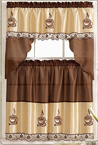 Coffee Embroidered Kitchen Curtain Tiers Swag Set Brown Https Www Amazon Com Dp B00vgptx92 Ref Coffee Decor Kitchen Coffee Theme Kitchen Kitchen Themes