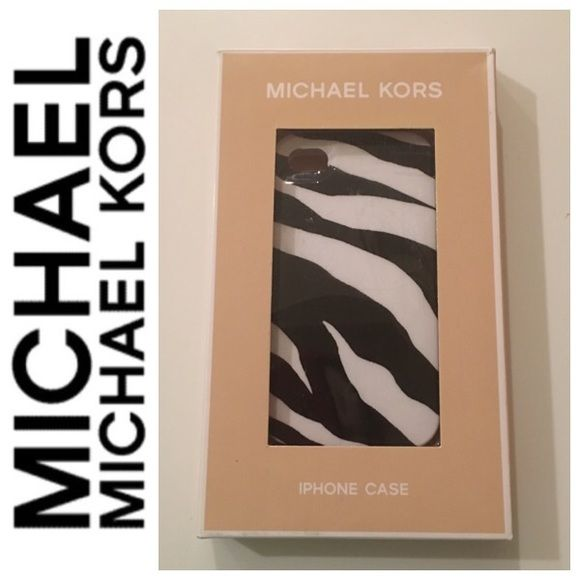 NIB Michael Kors iPhone Case Brand new, with tags, in original box. Michael Kors black and white zebra iPhone 4/4s case! This hard shell case provides support and protection for your iPhone to prevent breaking. Michael Kors Accessories Phone Cases