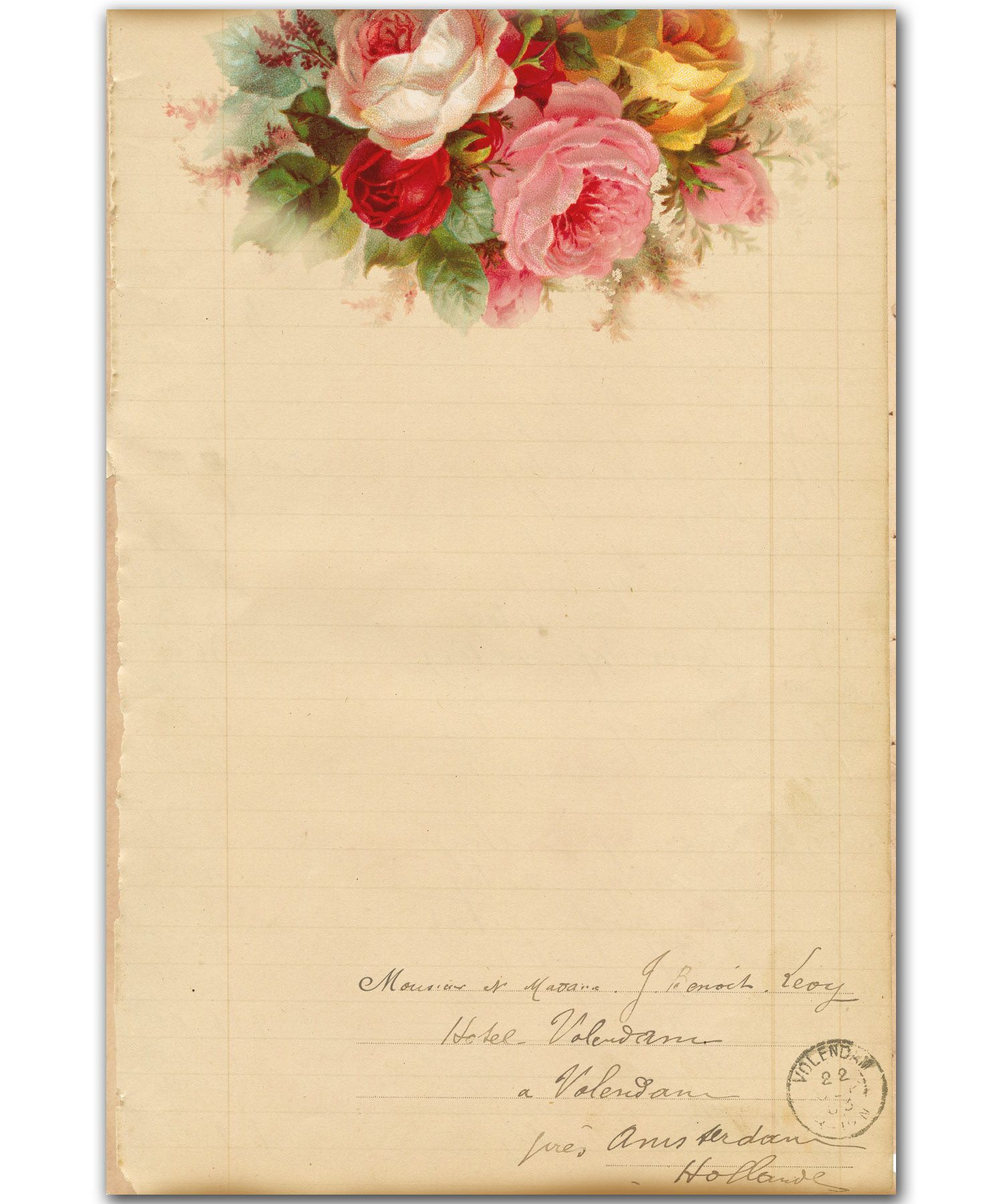Shabby Roses Lined Paper For Journal French Writing Ephemera Etsy Vintage Junk Journal Vintage Stationery Writing Paper