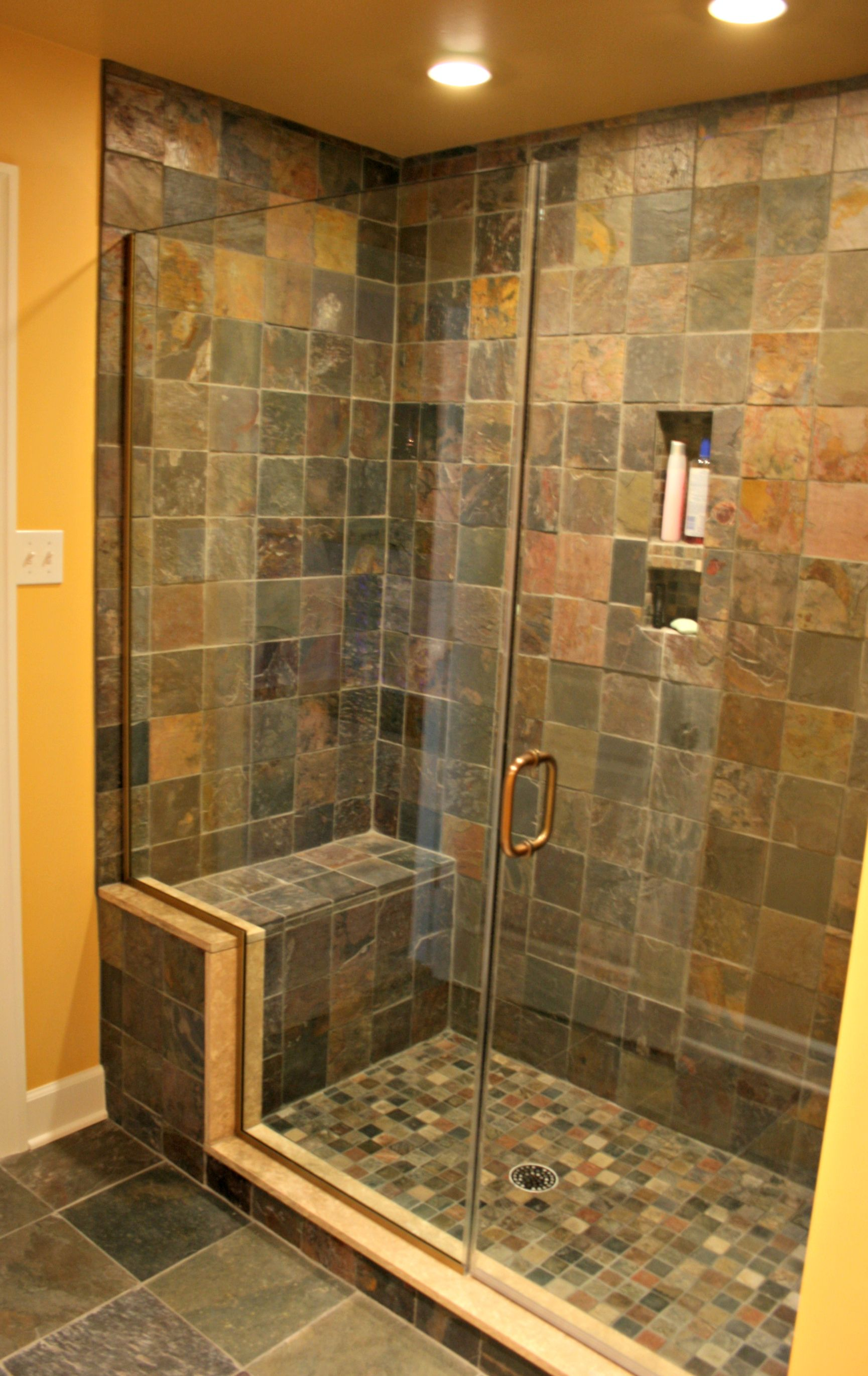 Slate Tile Shower In Finished Basement Bathroom
