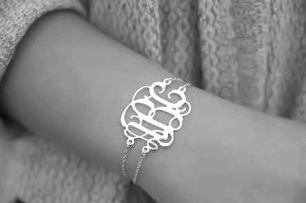 Silver Initial Bracelet Monogram 1 2 Personalized Sterling