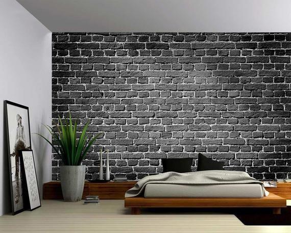Old Dark Brick Wall Background Large Wall Mural Etsy Brick Wall Bedroom Brick Wall Paneling Faux Brick Walls Black brick wallpaper bedroom ideas
