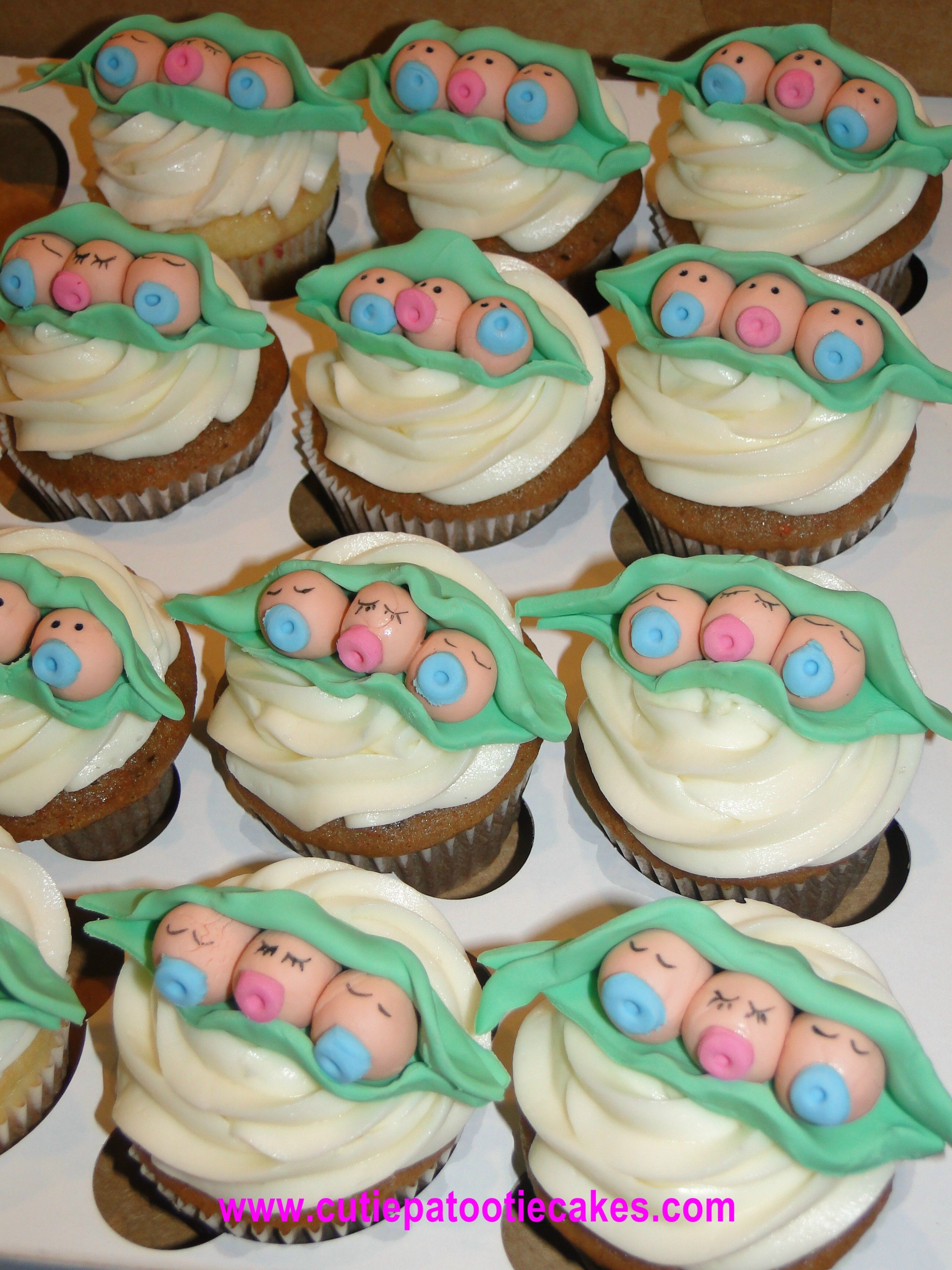 Triplet Peas In The Pod Cupcakes Triplet Baby Shower Baby