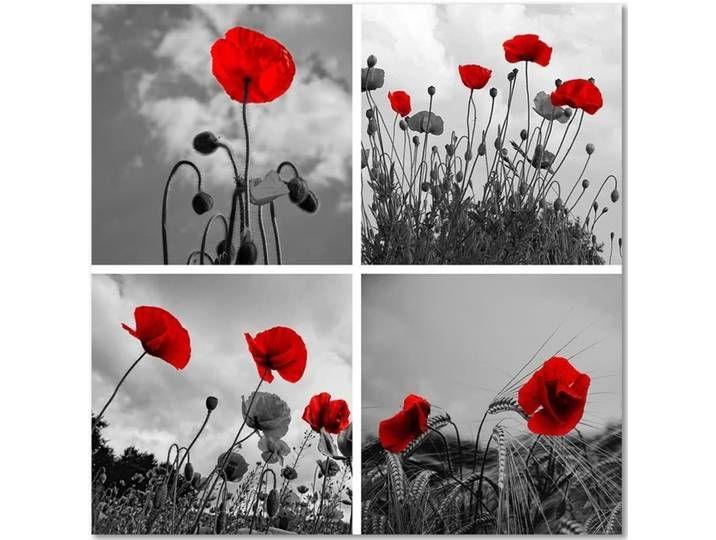 Feeby Leinwandbild Kunstdruck Rote Mohnblumen Art Painting