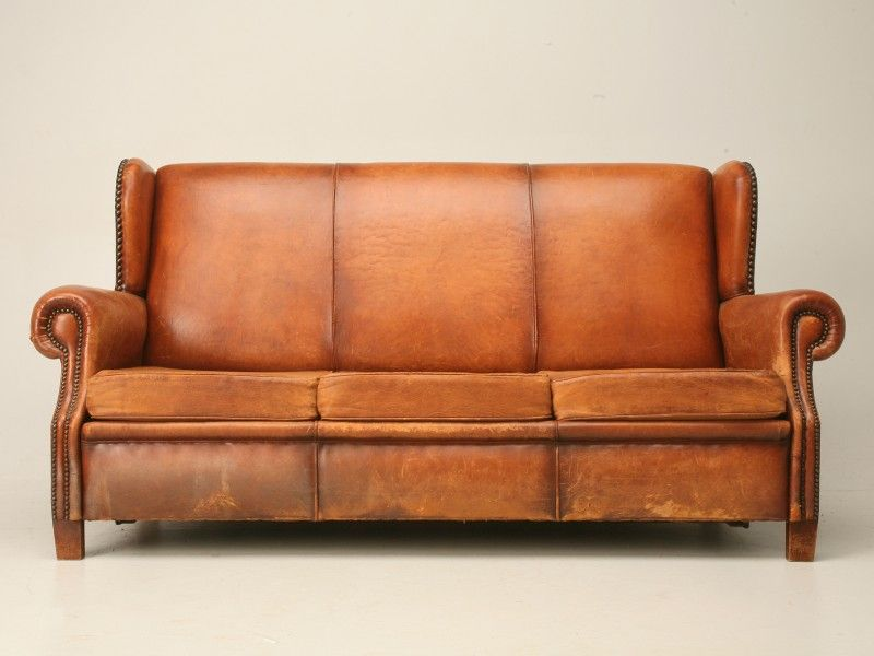 I love you - Vintage 1940's French Leather Sofa   Old Plank Road