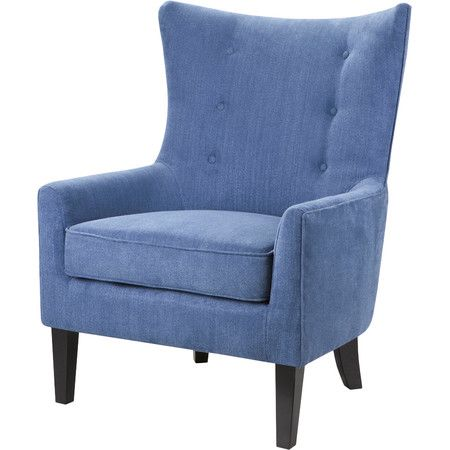 A curving button-tufted back and bold blue upholstery make this stylish arm chair a sleek addition to the living room or library.  P...
