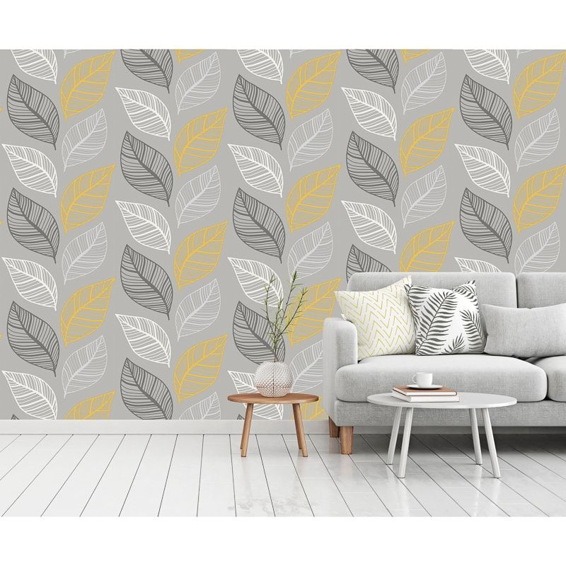 Elba Wallpaper Yellow Charcoal Charcoal Walls New Living Room Wallpaper