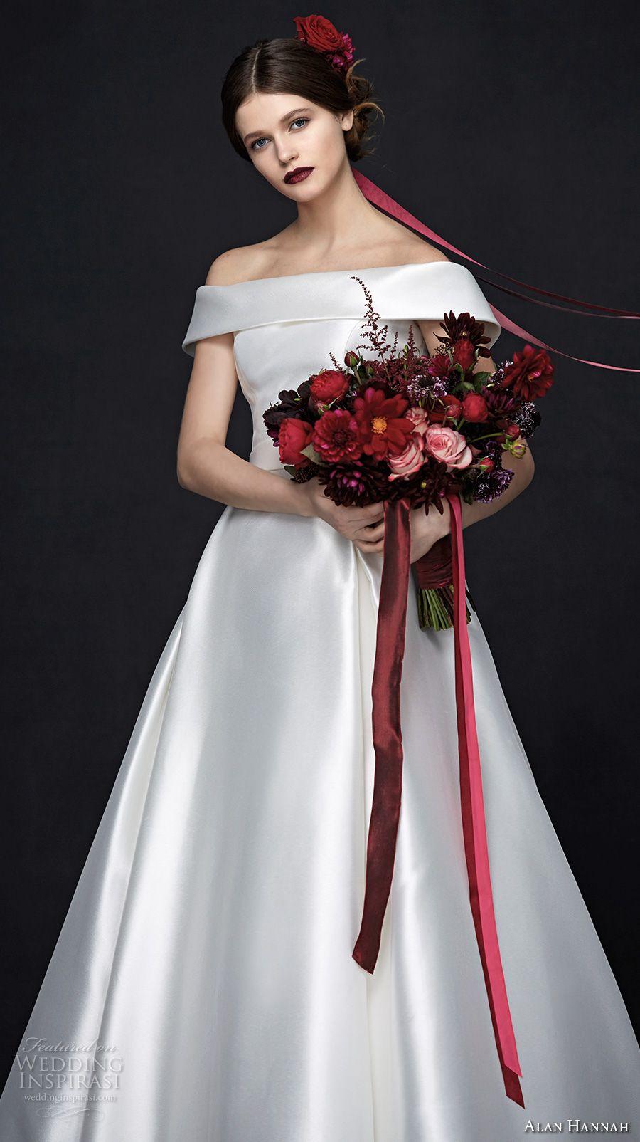 Alan Hannah 2017 Bridal Off The Shoulder Straight Across Neckline Simple Clean Satin Elegant Clic A Line Wedding Dress Millie Mv